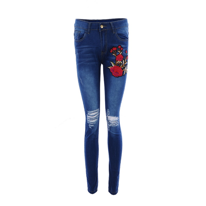 fd0b1ce96d6 Rasgado Pantalones Bordado Lasperal Agujero Moda 3xl Mujeres Cintura Jeans  Alta Floral Femenina Elásticos Lápiz Azul Vaqueros Grande Talla x11twqSz