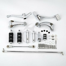Chrome Black Forward Controls Complete Kit Pegs& Levers& Linkages For Harley Sportster XL 883 XL 1200 04-13 chrome motorcycle forward controls complete kit pegs levers linkage for harley sportster superlow roadster xl 1200 iron 883