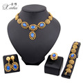 Hot selling Women African  Gold Plated Jewelry silver Fashion Bride Wedding Earrings Ring Necklace Bracelet Jewelry Set