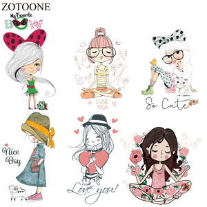 ZOTOONE Lovely Girl Patches Washable Iron-on Transfers For T-Shirt Girl Gift DIY Clothes Stickers Heat Transfer Appliques E(China)