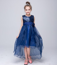 2-12T Junior Kids Prom Dresses with Long Tail Girls O-neck Sleeveless Sequined Princess Dress for Party and Wedding Ball Gowns