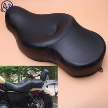 купить Motorcycle Black PU Leather+Soft Foam Style Driver+Passenger Pillion Low-Pro Solo Seat for Harley XL883 XL1200 N Sportster 05-13 по цене 7033.52 рублей