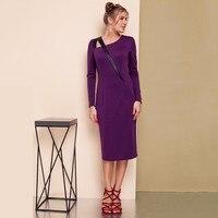 S FLAVOR Brand Women Autumn Winter Dress Vestido 2017 Fashion Solid Color Long Sleeve Plus Size