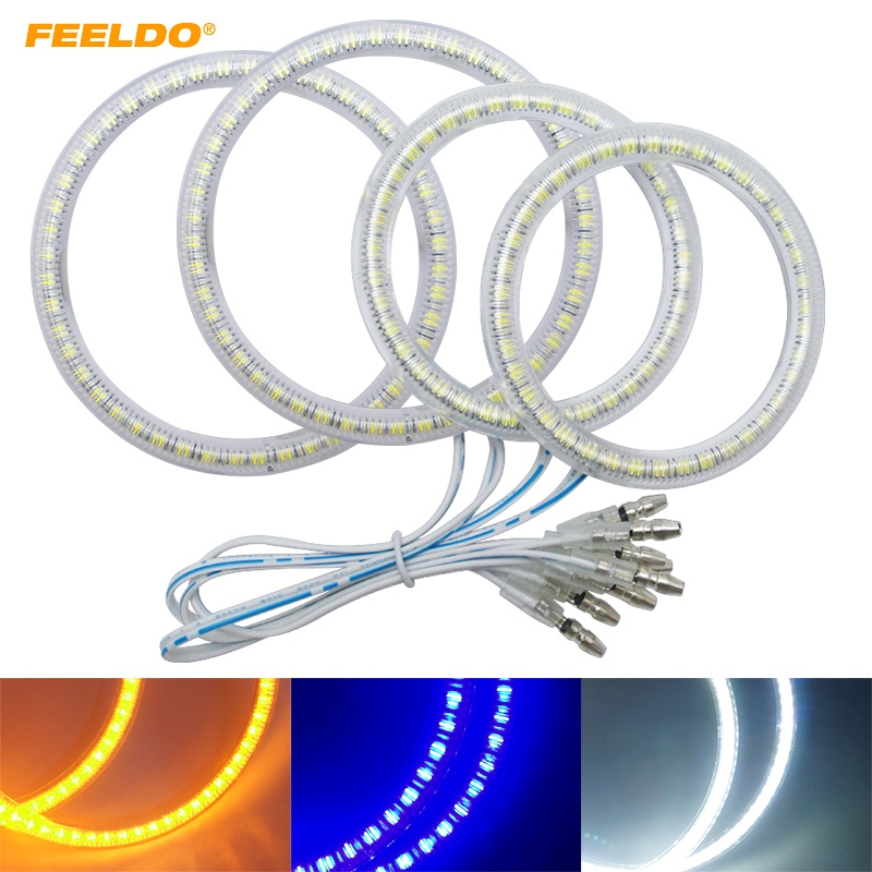 FEELDO 4Pcs/set For LAND ROVER Headlight Lamp Auto 3528 SMD Angel Eyes Light Halo Ring White Blue Yellow #FD 1009
