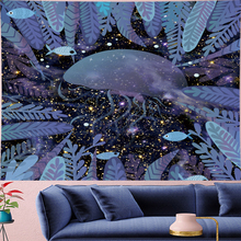 Cute Jellyfish cartoon wall hanging Childrens room cloth cute Underwater World kids tapestry psychedeli Wall Tapestry