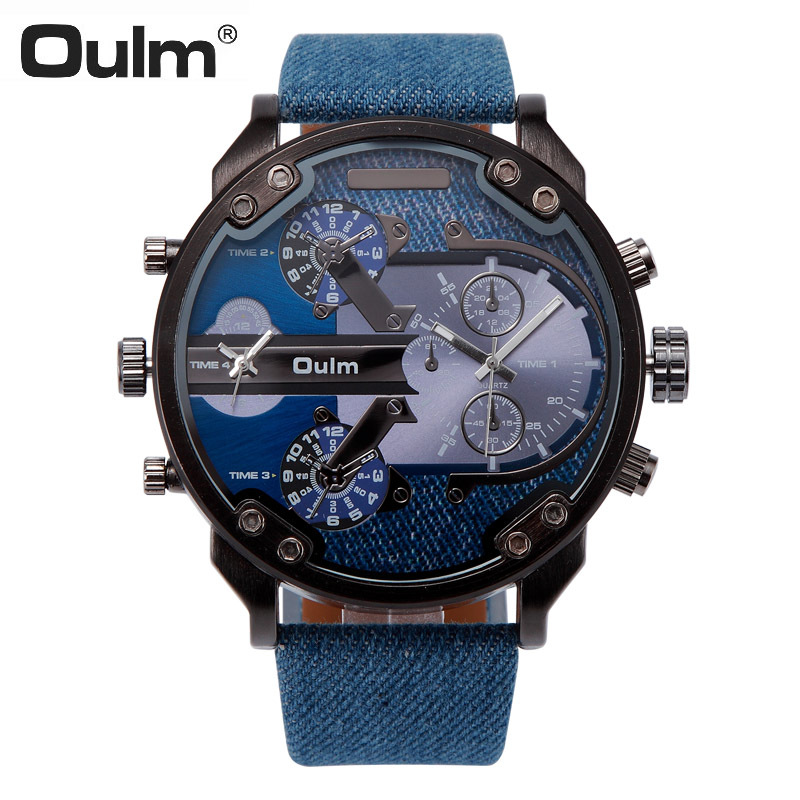 Oulm Men Watch Multi Movt Numbers Strips Hours Marks Big Dial Leather Band Men Quartz Military Wristwatch relogio masculino cagarny 6819 men quartz watch japan movt date round dial leather band