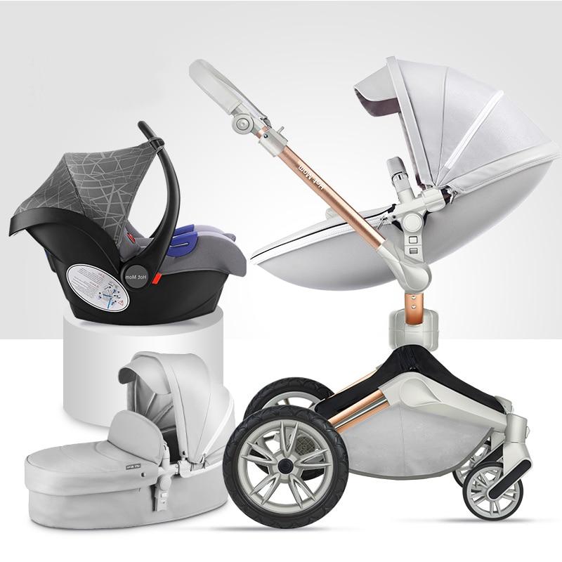 Роскошные Детские коляски 3 в 1 складные коляски для новорожденных высокого пейзаж Детские коляски для младенцев 360 градусов Поворот Колыбе...