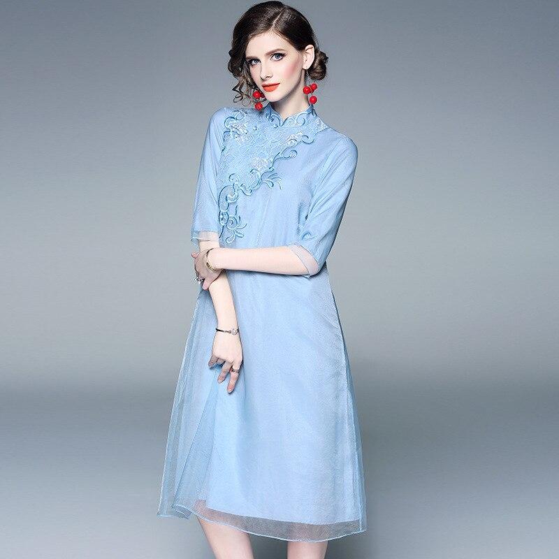 2019 printemps été robe femmes Vintage style chinois broderie col montant 3/4 manches amélioré Cheongsam robes élégantes S-XXL
