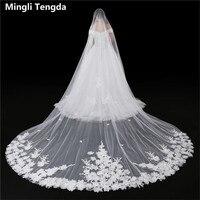 Appliqued Wedding Veil 3M*3M Long Cathedral Veil Cut Edged Bridal Veils One Layer Ivory Velos De Novia Wedding Accessories Voile