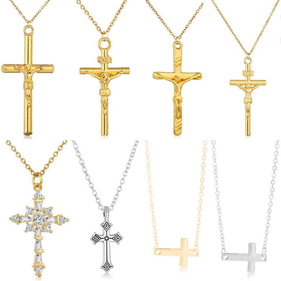 YANGQI Trendy Cross Necklace Double Side Gold Silver Rhinestone Cross Pendant Gold Jesus Necklaces&Pendants Unisex Jewelry Gift