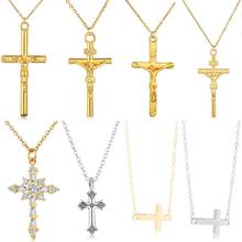 YANGQI Trendy Cross Necklace Double Side Gold Silver Rhinestone Cross Pendant Gold Jesus Necklaces&Pendants Unisex Jewelry Gift(China)