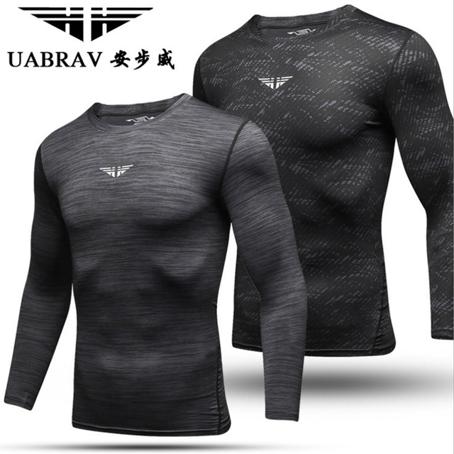 UABRAV Long Sleeve T-Shirt Workout Compression Fitness T-Shirt Quick Dry Basketball Training Running Fitting Exercise T-shirts