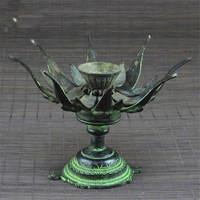 HDC0678 Indian Bronze Lotus Tortoise Lamp Antiqued Vintage Candles Holder 4'' Family Decor Arts