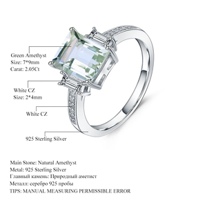 Image 5 - Gems Ballet 4.1Ct  Natural Green Amethyst Wedding Band Ring Genuine 925 Sterling Silver Prasiolite Rings For Women Fine Jewelry