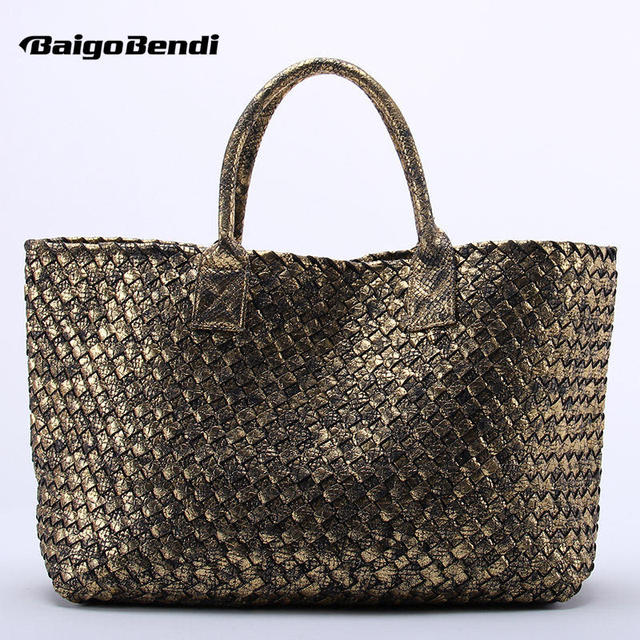 10 Colors Brand Shinning Woven Leather Handbag Cross Stitch Hobo Women s  Knitting Serpentine Bag Large Casual Tote