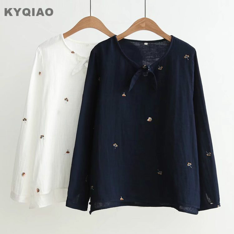 Kyqiao Women Plaid Shirt 2019 Female Autumn Spring Japanese Style Turndown Collar Long Sleeve Lace Plaid Blouse Tops Blusa Blouses & Shirts