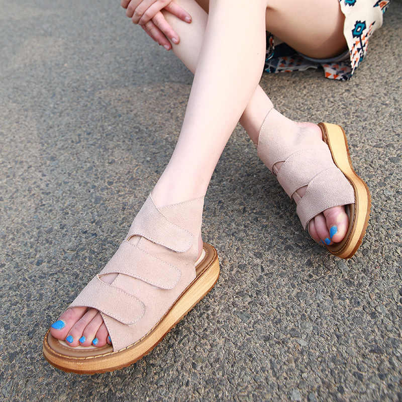 new summer shoes woman brand three band sandals genuine leather gladiator sandals women hook$loop beach sandals flip flops