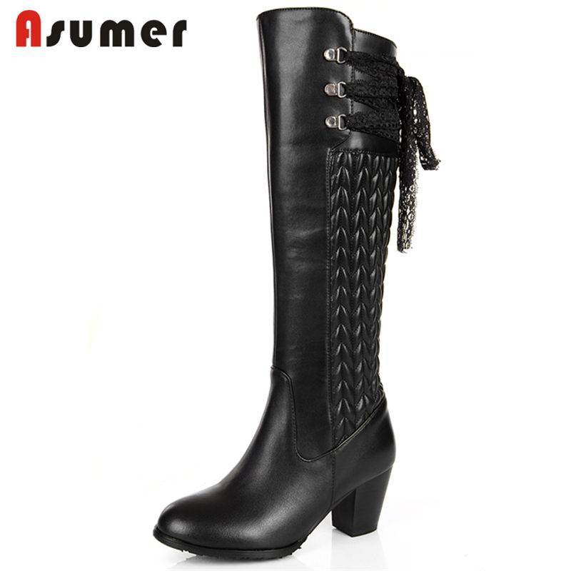 ASUMER PLUS SIZE 30-45 2018 HOT fashion genuine leather+PU boots thick high heel knee high boots for women sewing winter boots цены