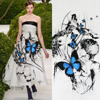 2018 new fashion super fashion designs silk satin butterfly printed fabric blouse dresses silk fabric by the meter wholesale