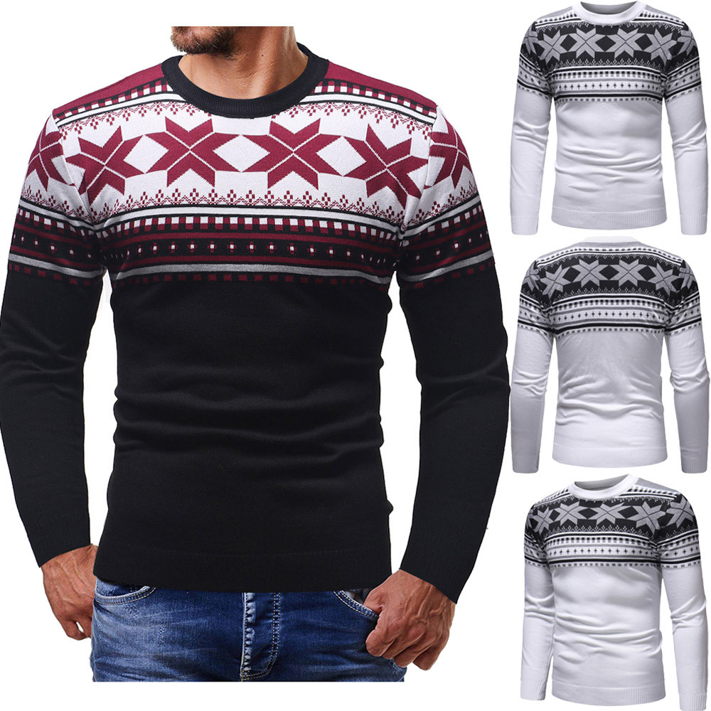 Men Autumn Winter Pullover Knitted Top Printed Christmas Sweater Outwear Blouse