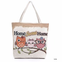 Owl Printed Tote Female Casual Beach Bags Daily Use Canvas Handbags Large Capacity Women Single Shopping