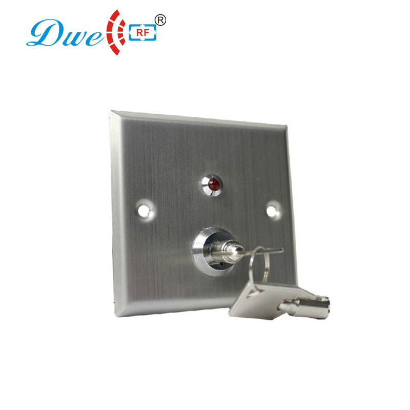 DWE CC RF access control kits stainless steel emergency door release button with key switch with LED indicator light dwe cc rf access control kits aluminum alloy silver door open push release switch with key