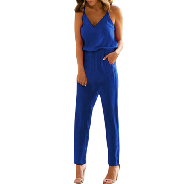 1dc79bc4d5d Jumpsuits for women 2018 New V Neck Pocket Playsuit Clubwear rompers womens  jumpsuit Fashion elegant jumpsuit macacao feminino