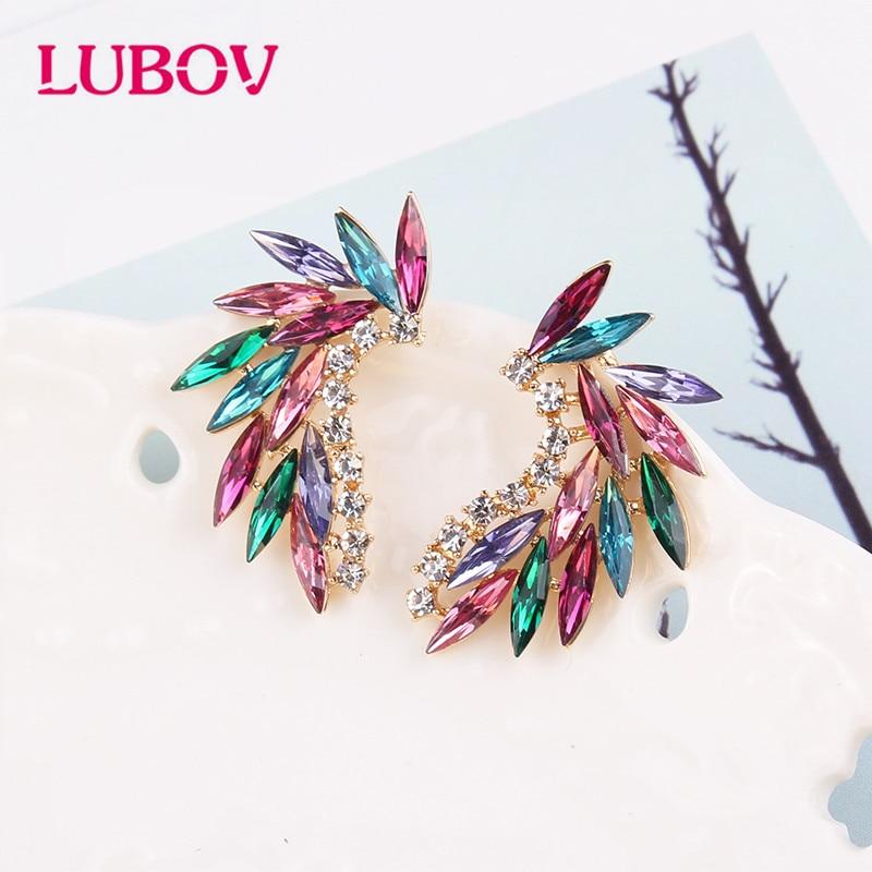 LUBOV brillant strass ailes boucles d'oreilles acrylique cristal pierre femmes Piercing boucles d'oreilles bijoux de mariage à la mode cadeau de noël