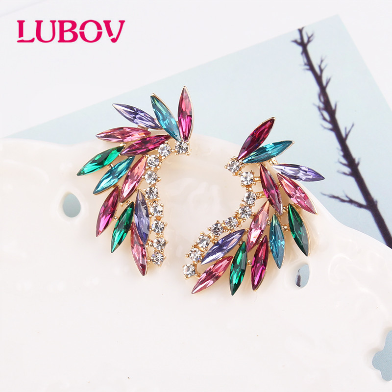 LUBOV Shining Rhinestone Wings Stud Earrings Acrylic Crystal Stone Women Piercing Earrings Trendy Wedding Jewelry Christmas Gift
