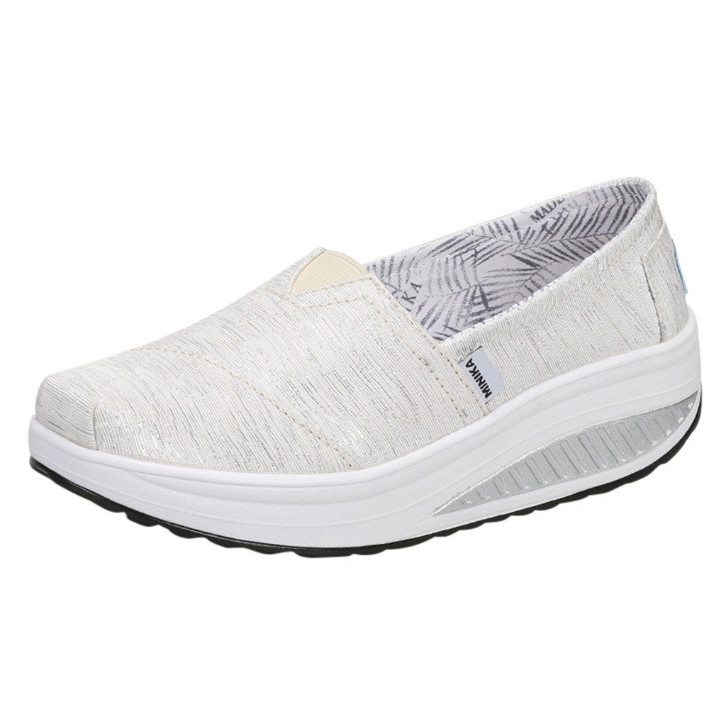SAGACE Womens Casual Shoes Increase Running Canvas Genuine Breathable Sports High Bottom Round Mid Heel Womens Casual Shoes(China)