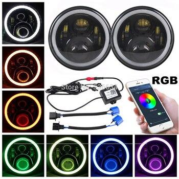 1 par de faros LED negros de 7 pulgadas con Control RGB DRL para Jeep Wrangler de 2007-2017 JKU ilimitado de 4 puertas, PARA AM General Hummer