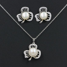 Natural Freshwater Pearl Wedding Jewelry Set Real 925 Sterling Silver CZ Zircon Hollow Out Flower Necklace & Earrings