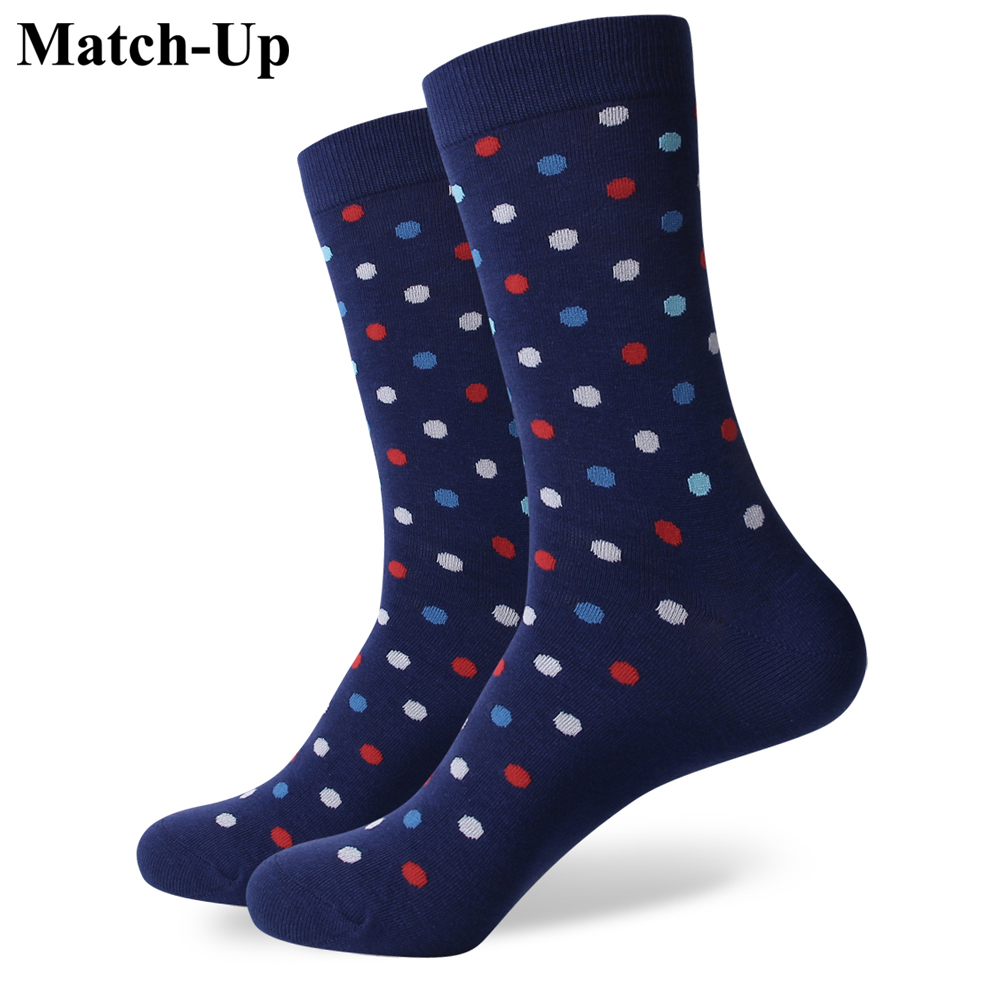 Match-Up Match-Up Samll Dot  Men's Combed Cotton Business Socks Brand Man  US Size(7.5-12)