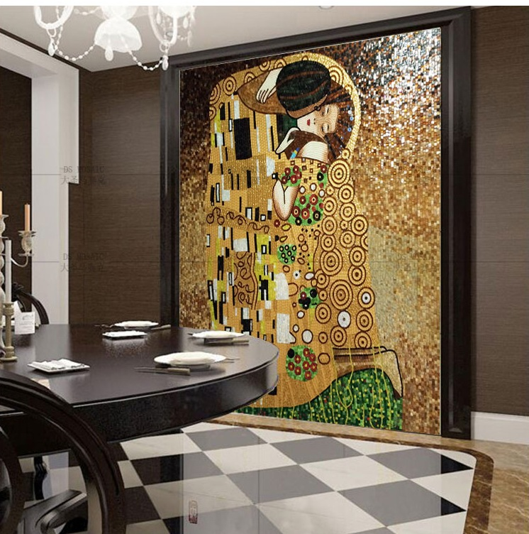 Buy the kiss of gustav klimt hand made glass mosaic art wall mural decor from - Designs in glasses for house decoration ...