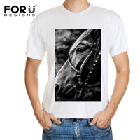 FORUDESIGNS New Casual T Shirt Mens Short Sleeve Casual Top Tees Zebra Crazy Horse Pattern T