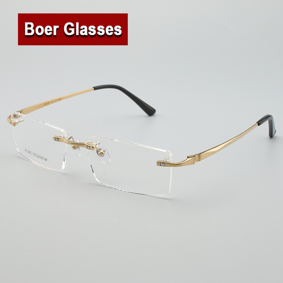 5f675bae65 New Arrivals Business Eyewear 100% pure titanium male rimless Eyeglasses  frame light weight recipe RXable  6133 size 55 17 140-in Eyewear Frames  from ...