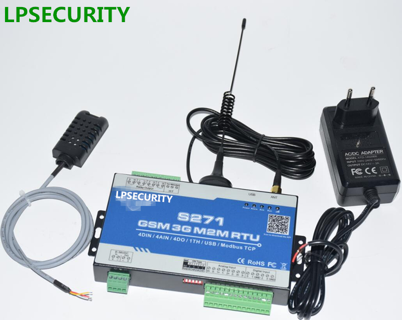 LPSECURITY GSM with 1 temperature humidity sensor Wireless GSM PLC 3G gsm alarm Controller S271 SMS Alert Logic IO Controller lpsecurity 3g s261 gsm sms 4 sensor inputs temperature monitoring rtu online temperature alarm controller data transmission unit