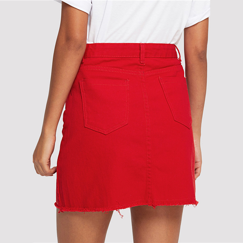 COLROVIE Frayed Hem Pockets Denim Skirt Spring Red Ripped Mid Waist Girly Casual Mini Skirt Summer A Line Basic Women Skirt 12