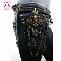 Black PU Leather Skull Rivet Chain Punk Rock Waist Bag Steampunk Utility Bag Women Men Shoulder