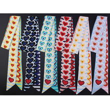 LEAYH 5cm Striped Heart Double-Sided Printed Twill Silk Small Scarf Womens Skinny Scarves Headbands Bag Handle Ribbons