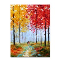 Hand Painted Abstract Color Forest Autumn Scenery Oil Painting Abstract Wall Picture Living Room Home Wall Decor Drop Shipping