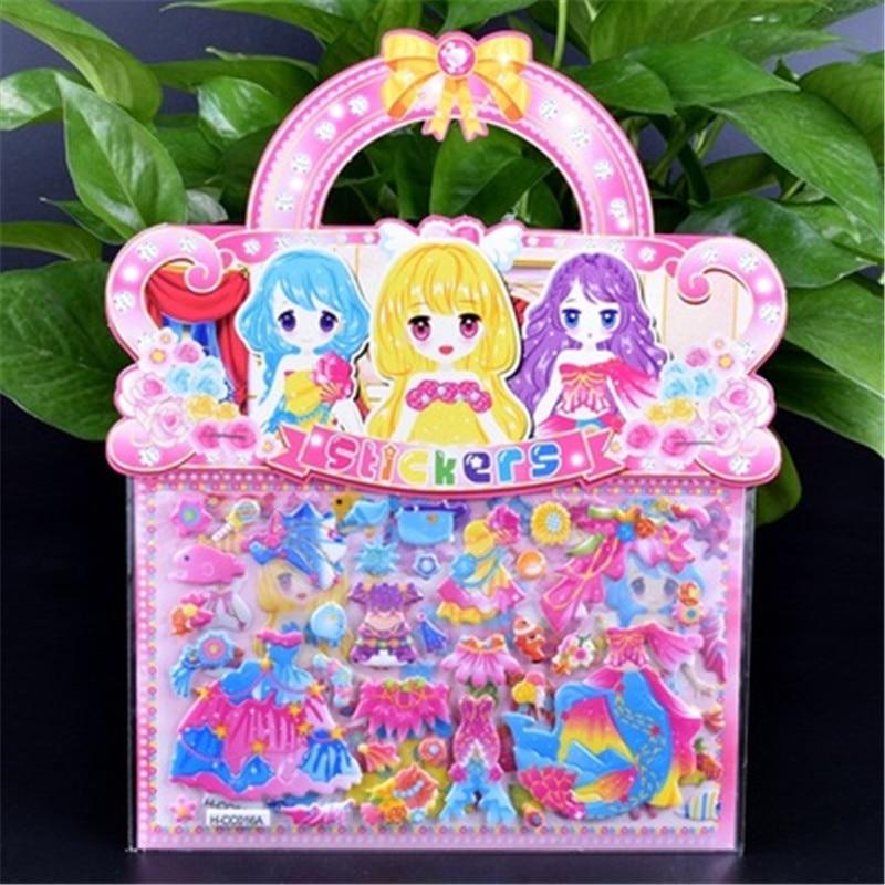 1PC Double layer Cute Mermaid/Princess Dress up Sticker For DIY Diary Phone Laptop Book Kids Anime Kawaii Stickers Children Toys princess pop stars sticker book star paws