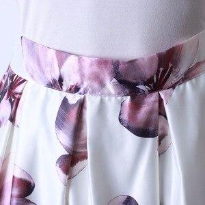Image 5 - Neophil 2020 Retro Mode Frauen Schwarz Weiß Plissee Blume Floral Drucken Hohe Taille Midi Ballkleid Flare Kurze Röcke Saia s1225
