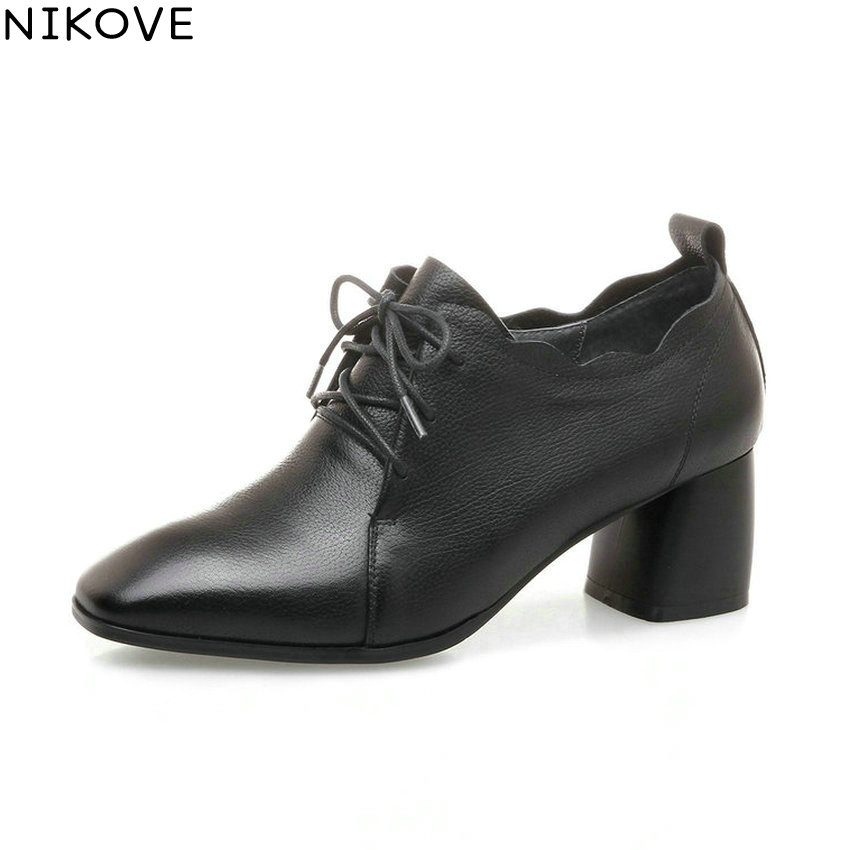NIKOVE 2018 Women Pumps Shoes Elegant Square High Heels Lace Up Chunky Spring and Autumn Square Toe Women Shoes Size 34-42 siketu free shipping spring and autumn high heels shoes career sex women shoes wedding shoes g012 nightclub pumps