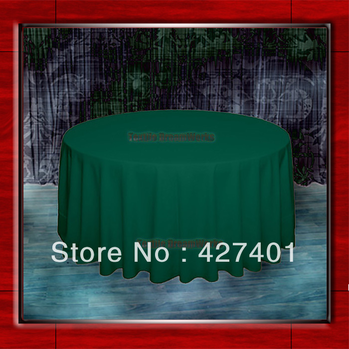 Hot Sale 132 R Hunter Green Round Table Cloth Polyester Plain Table