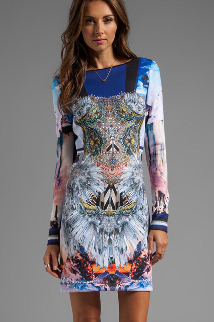 Kristall Korsett Muster langhülse Print Kleid langarm kleid formale ...