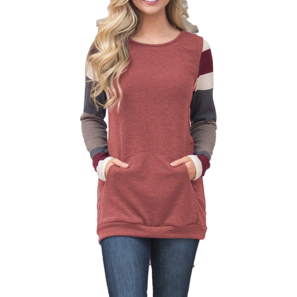 Hiver européen et américain femmes col rond à manches longues chic multicolore rayé femmes sweat-shirt XL