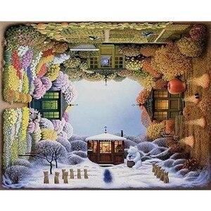 Всесезонные дома ручная работа краска высокое качество холст Красивая живопись по номерам Сюрприз подарок большое достижение