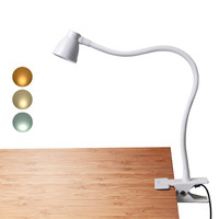 Clamp Desk Lamp, Clip on Reading Light, 3000 6500K Adjustable Color Temperature, 6 Illumination Modes, 10 Led Beads+ USB cord