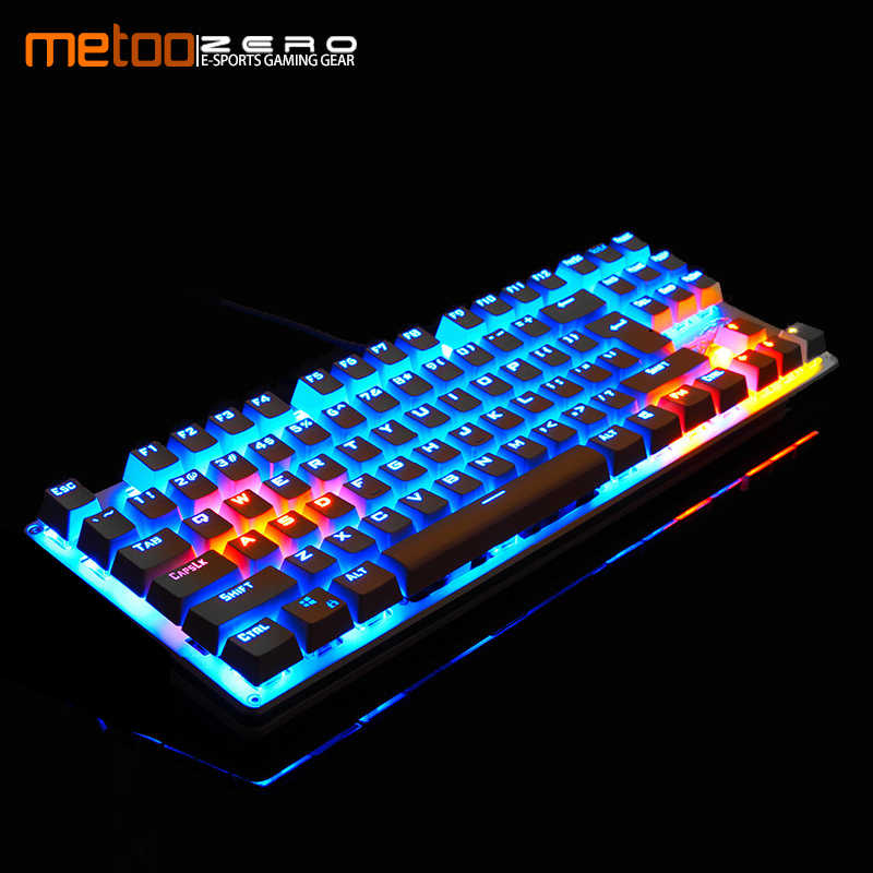 Metoo Mekanis Keyboard 87/104 Anti-Ghosting Bercahaya Biru Hitam Switch Backlit Wired Gaming Keyboard Bahasa Rusia/Inggris/Spainsh